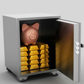 Bullions and piggy bank in a security safe — Stock Photo