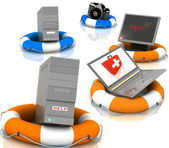 Lifesavers for PC, monitor, camera and laptop — Stock Photo