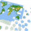 Puzzle map of the world - Stock Photo