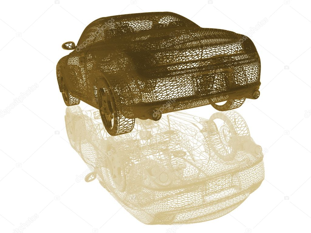 Rear-side view of a car on white  Stock Photo #8654628