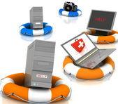 спасателями для пк, монитор, фотоаппарат и ноутбук — Стоковое фото