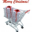 Shopping cart full of gifts — Stock Photo