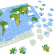 Puzzle map of the world — Foto Stock