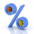 Percent with the icons of dollar and house — Stock Photo #8756882