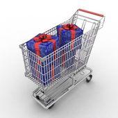 Alışveriş sepeti hediye dolu — Stok fotoğraf