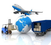 Airliner with a globe and autoloader with boxes — Stock Photo