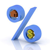 Percent with the icons of dollar and house — Stock Photo