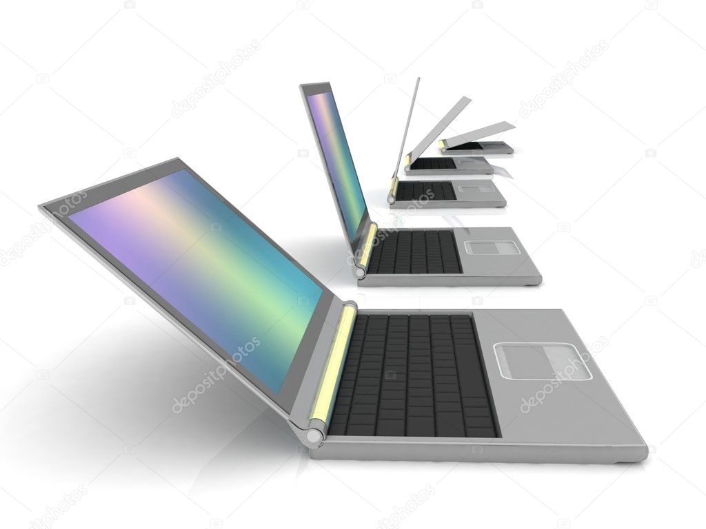 Isolated curved lineup of laptops next to each other — Stock Photo #8756708