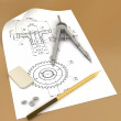 Band, pencil and compasses - Stock Photo