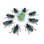 Besouros atacam a terra — Fotografia Stock