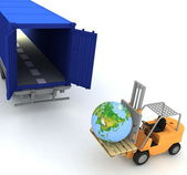 Loading of earth in a container — Stock Photo