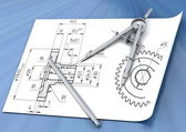 Band, pencil and compasses — Stock Photo