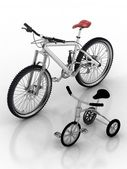 Children's bicycle against a sports bike — Foto Stock