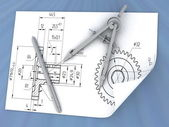 Drawing, pen and compasses — Stock Photo