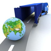 Container with open doors and a globe — Stock Photo