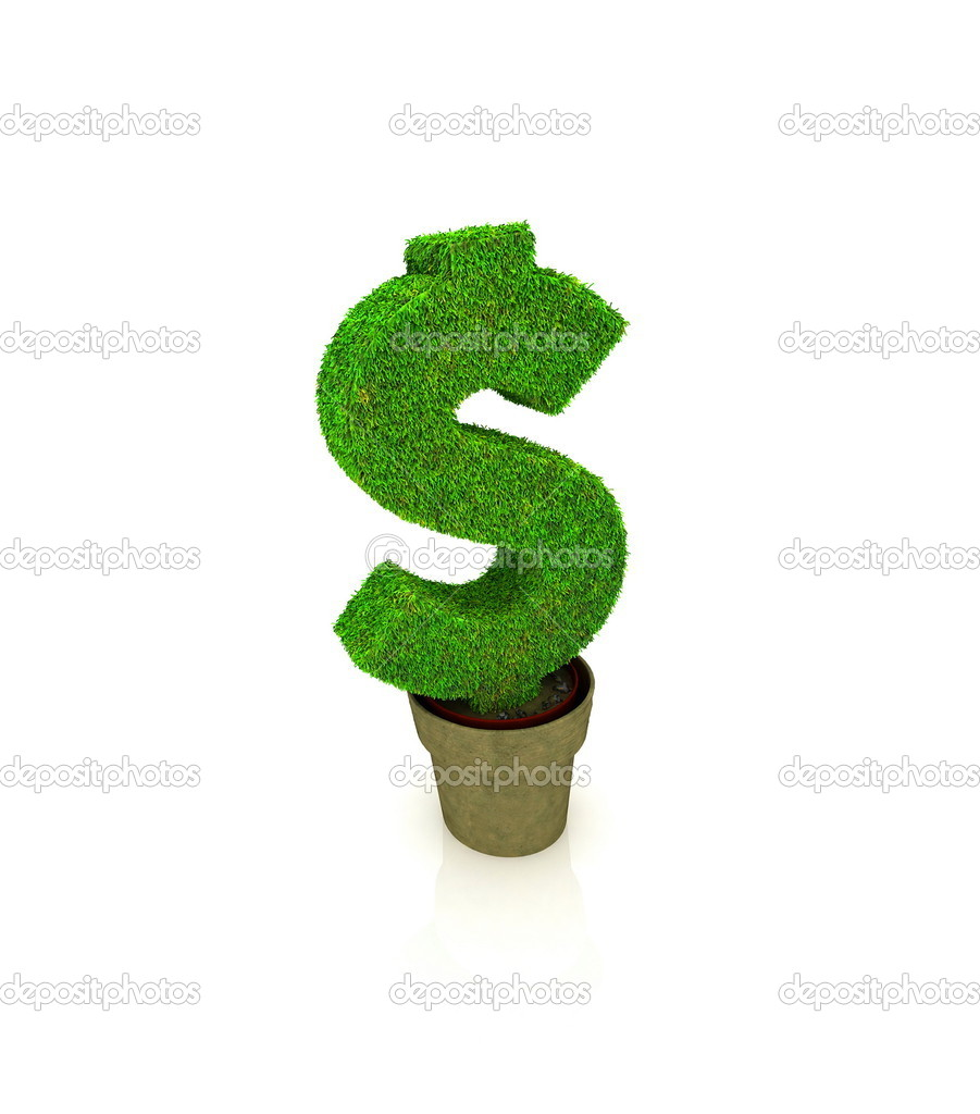 Sign of dollar, growing in a flowerpot — Stock Photo #8809625