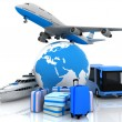 Stock Photo: Types of transport liners with globe and suitcases
