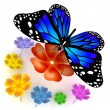 Foto Stock: Butterfly and flowers