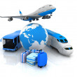 Traffic resources with a globe and suitcases — Stock Photo #8960555