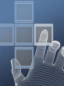 The hand presses the button — Stockfoto