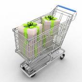 Winkelwagen van een supermarkt met een cadeau — Stockfoto
