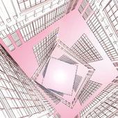 Abstraktní architektonických 3d konstrukce — Stock fotografie