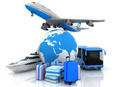 Types of transport liners with a globe and suitcases — Stock Photo