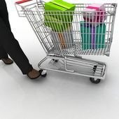 The man rolls the store cart with gifts — Stock Photo
