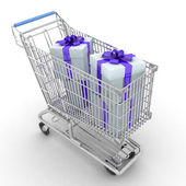 Store cart full of gifts — Stock Photo