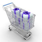 Shop Warenkorb voller Geschenke — Stockfoto