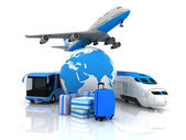 Traffic resources with a globe and suitcases — Stock Photo