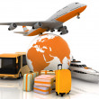 Stock Photo: Types of transport liners with globe and luggage