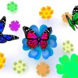 Stock Photo: Butterfly and flowers