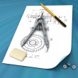 Stock Photo: Elastic, pencil, compasses and draft on the surface of table