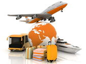 Types of transport liners with a globe and luggage — Stock Photo