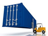 Loader lifts container — Stock Photo