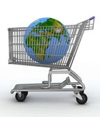 Shopping cart with a globe — Stock Photo