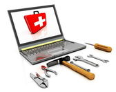 The monitor with the complete set of tools for repair — Stock Photo