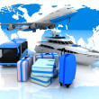 Types of transport liners  and suitcases - Stock Photo