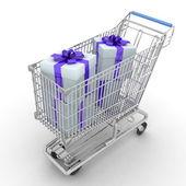 Stříbrné úložiště vozík plný dárků — Stock fotografie