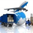Airliner with a globe and autoloader with boxes in a container — Stock Photo