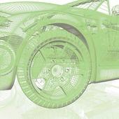 Closeup of wheels of machine on white background — Stock Photo