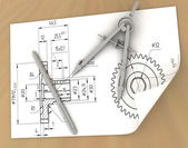 Pencil and compasses — Stock Photo