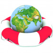 Globe and lifebuoy ring — Stockfoto #9695444