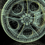 Closeup of wheels of machine on black background — Stock Photo #9695457