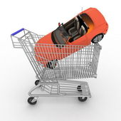 Cart from a supermarket with a gift on a white background — Stock Photo