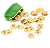 3d abbildung einer handtasche und geld — Stockfoto