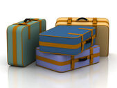 Suitcases isolated on white background — Stock Photo