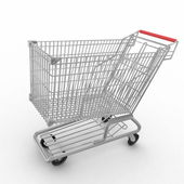 Empty shopping cart isolated on white background — Stock fotografie