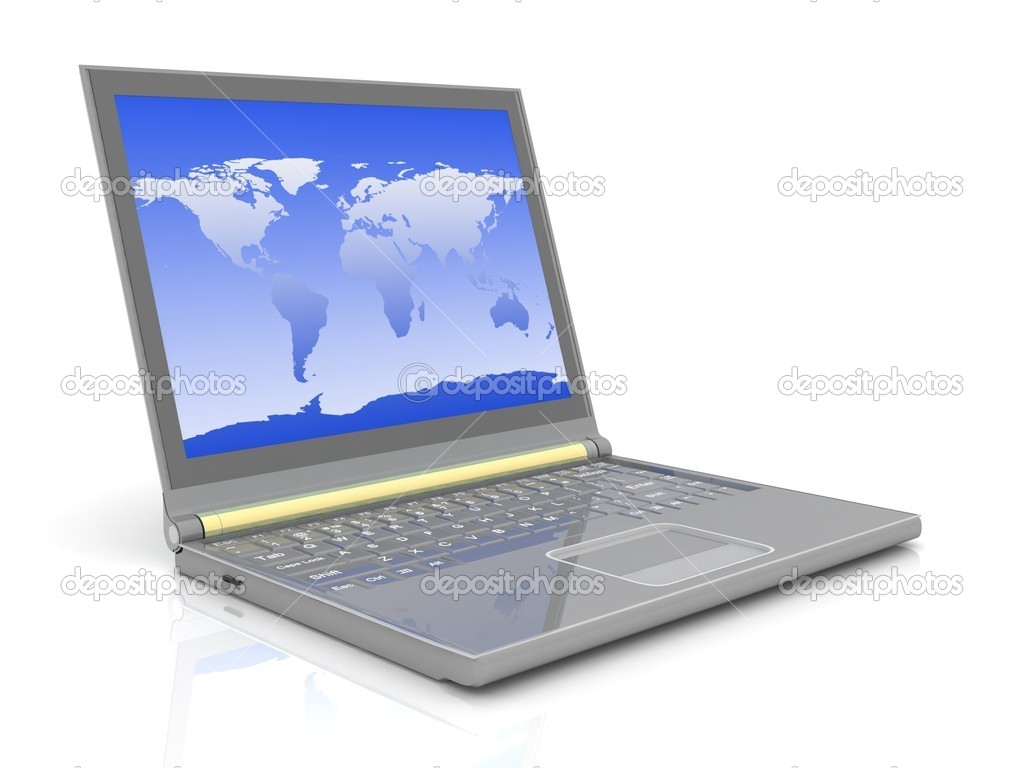 Modern laptop isolated on white with reflections on glass table. — Stockfoto #9695357